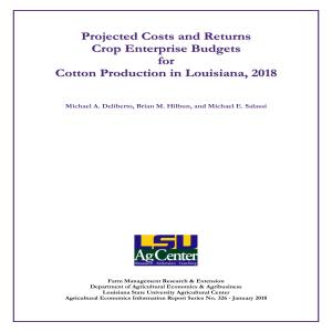 2018 Cotton Enterprise Budget